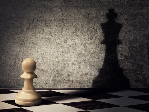 Pawn with a shadow of a king