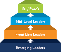 Diagram showing different levels of leadership